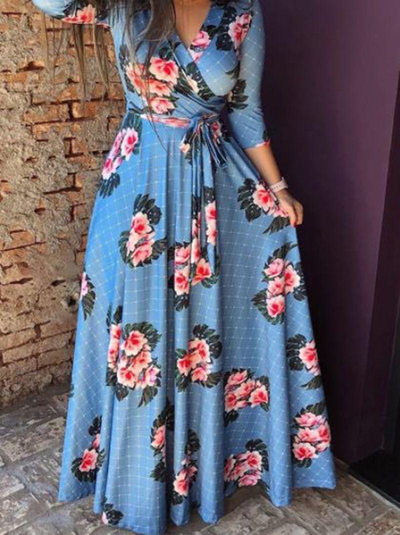 Casual Dresses European Broken Flower Autumn Women's Skirt 7 / 6 Sleeve Printed Evening V-neck Dress Nn