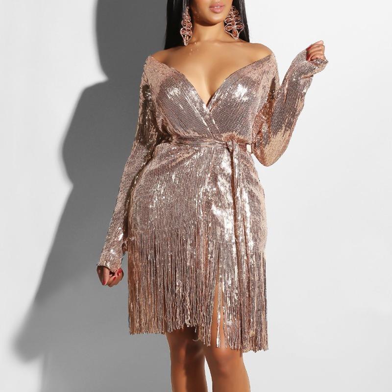 Casual Dresses Chic Deep V-neck Shining Beading Club Dress Belted Irregular Split Sequined Fringed Bandage Long-sleeved Vestidos Verano