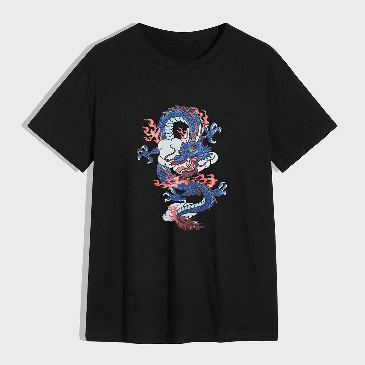 Молодежная мода вокруг шеи футболка на открытом воздухе спортивный дракон печать лето с короткими рукавами повседневные скрещенные мужские азиатские размеры