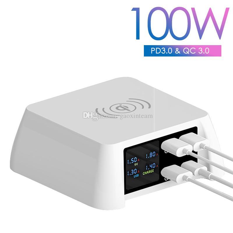 100W متعدد 15W شاحن لاسلكي سريع 20W USB-C QC3.0 9V / 2A 5V / 3A عرض الرقمية الذكية محطة شحن سريعة لفون سامسونج