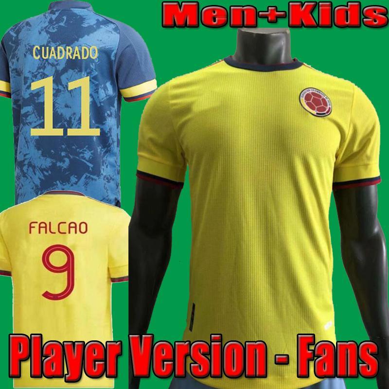 2021 Colombia Player Version soccer jerseys 21 22 Colombie Men + Kids Camiseta de futbol JAMES FALCAO CUADRAD VALDERRAMA Football Shirts