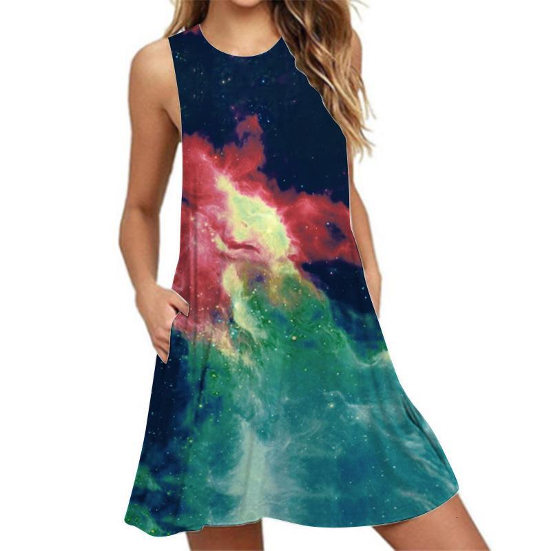 Vestidos estrela digital impressão mangas colete de bolso vestido de pulôver no verão de 2021