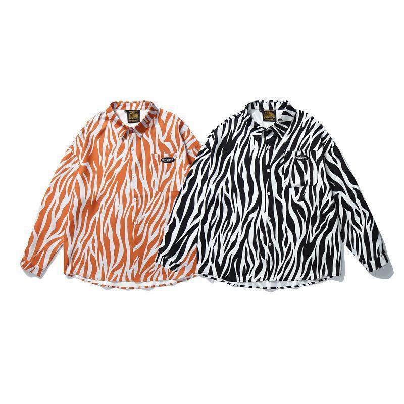 봄 남자 셔츠 가로복 얼룩말 줄무늬 패션 힙합 캐주얼 셔츠 하라주쿠 일본 긴 소매