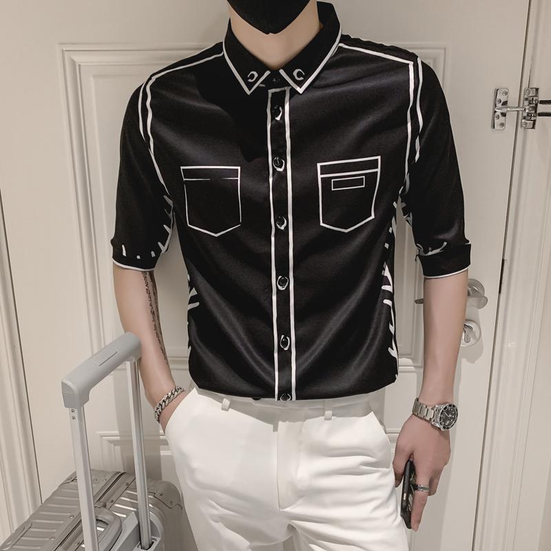 Stripe para hombre Camisetas Streetwear Streetwear Hombres de alta calidad Slim Fit Half Manga Ropa Diseñador Camisa de fiesta de fiesta Camisa Masculina Hombres Casual