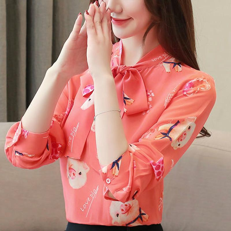 Women Blouses 2021 Chiffon Blouse Clothing Ladies Tops Bow Stand Clothes Plus Size Shirts Pink Full Women's &