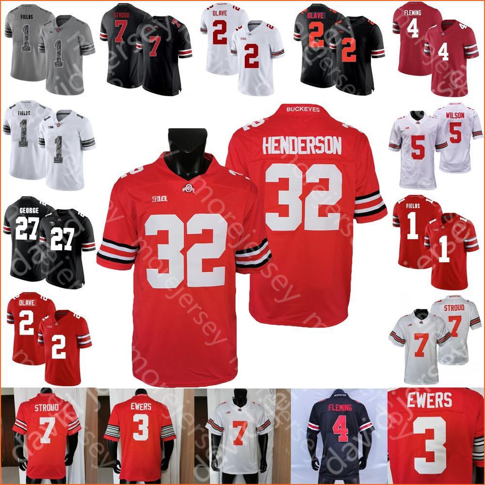 Custom Ohio State Buckeyes Football Jersey Jack Sawyer Quinn Ewers C.J. Stroud Smith-Njigba Garrett Wilson George Chris Olave Tuimoloau Kittle Treveyon Henderson