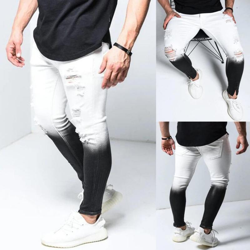 جديد جينز نحيل الرجال التدرج أسود أبيض ممزق هول الدينيم pantalones ذكر الخريف الكاحل زيبر قلم رصاص بنطلون
