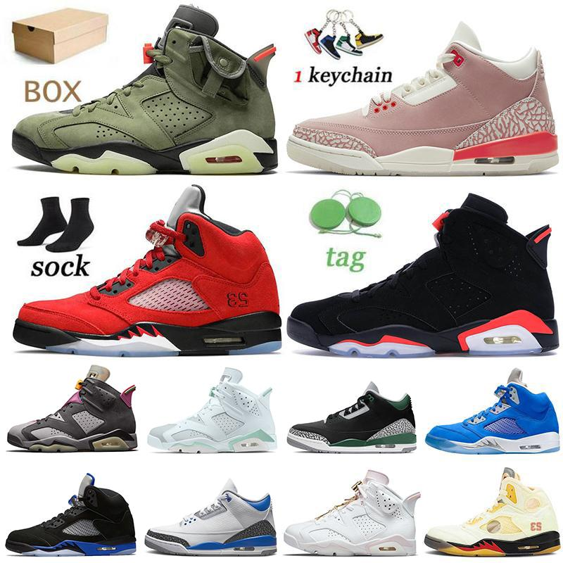 Nike Air Jordan Retro With Box White Off Sail Jumpman 5 6s Womens Mens Scarpe da basket Travis Scott Georgetown Anthracite 5s 6 Hare Carmine Sneakers Scarpe da ginnastica