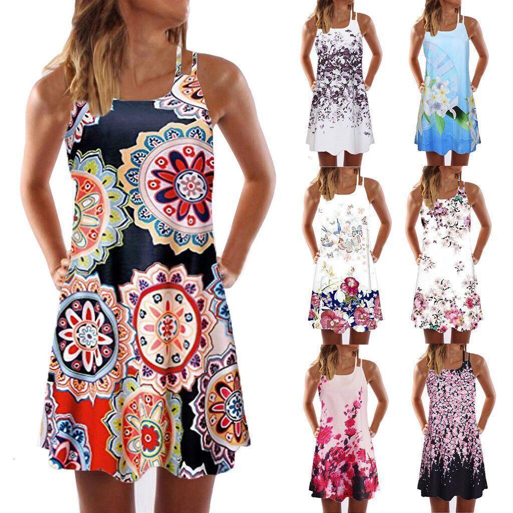 Vestidos Primavera / Verão 2021 sem mangas Imprimir Dress Dress