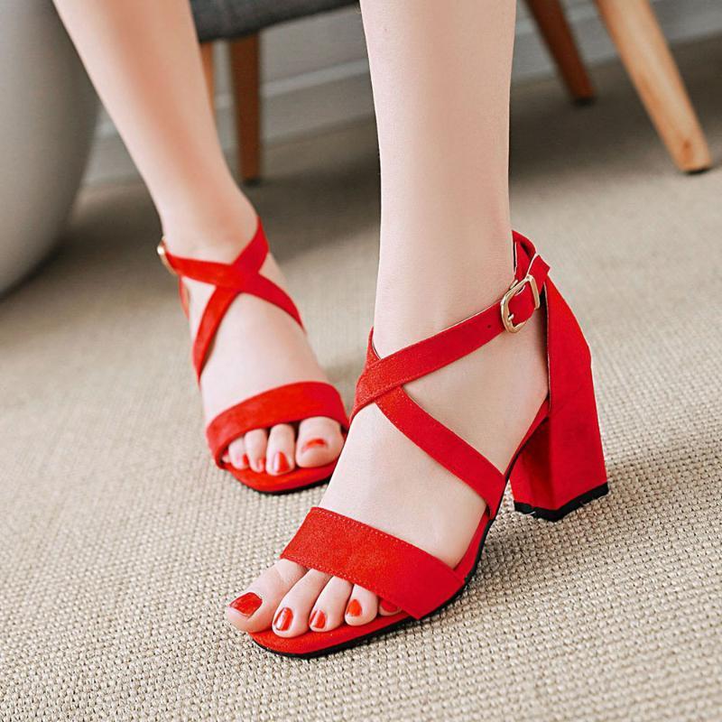 Fanyuan Damen Sandsals Dicke Heels High-Heeled Sandals Open TOE Plus-Size Damenschuhe Weiß und Rosa Damen