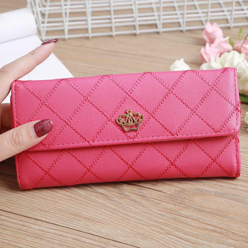 New Korean Women Long Crown Embroidery Concealed Wallet Lady High Capacity Coin Purse Clutch Phone Bag