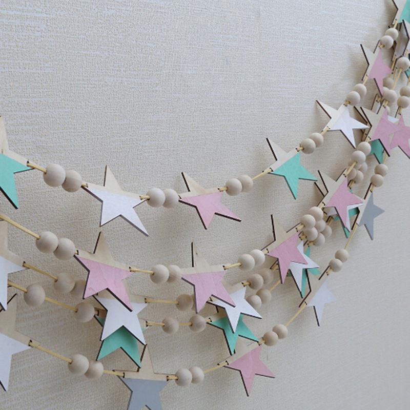 Dekorative Objekte Figuren Nordische Holzperlen Sterne Hängende Banner Mädchen Baby Raum Wanddekorationen Kinder Mode Weiche Möbel