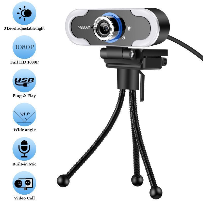 1080p rotatable e auto focal webcam com microfone pc laptop desktop usb webcams LED luz óptica lente