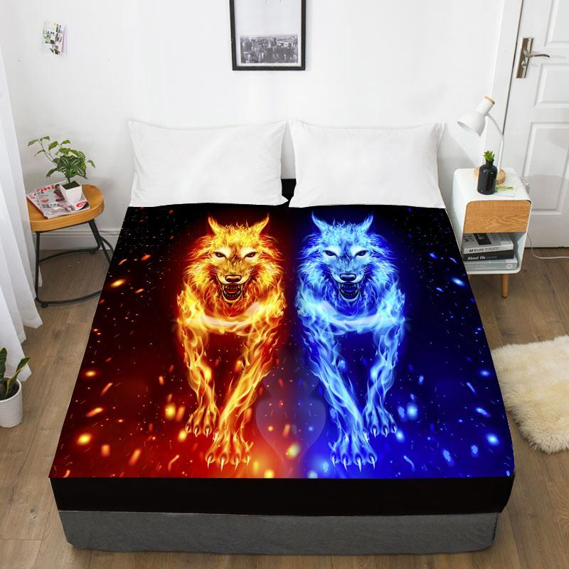 Printing Custom Bed Sheet With Elastic,Fitted Queen/King,Animal Black Lion Leopard Mattress Cover 160x200/150x200 Size Sheets & Sets