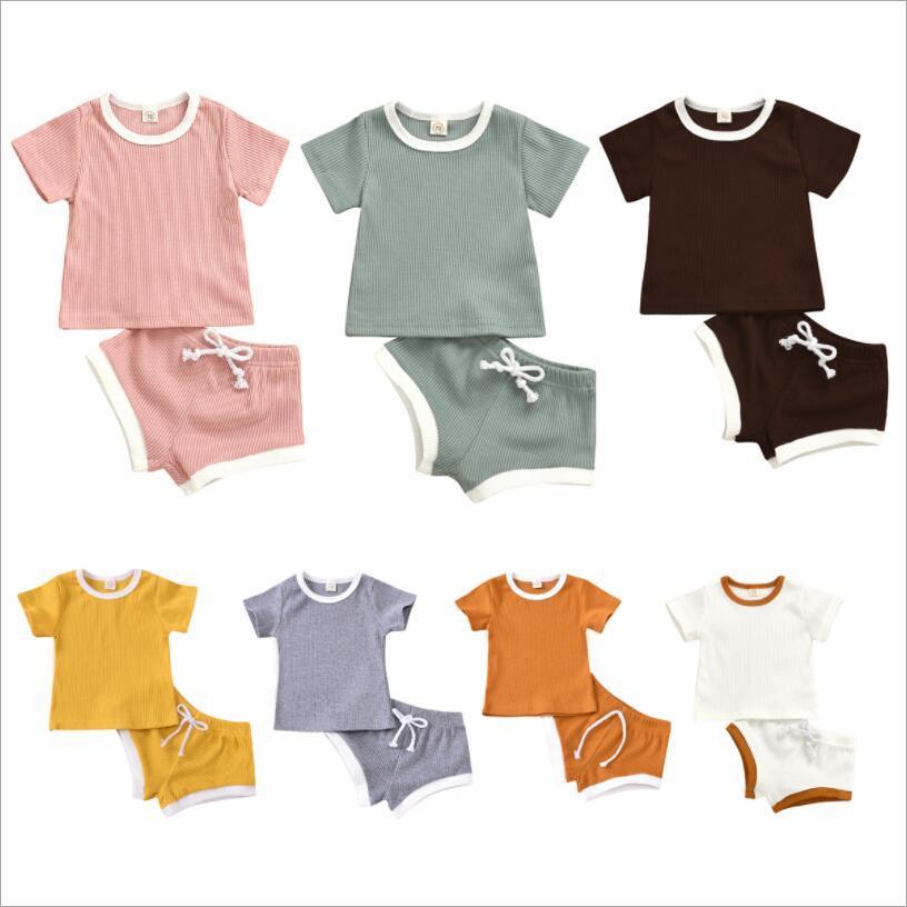 아기 디자인 의류 세트 유아 소녀 솔리드 탑스 반바지 복장 일반 스트라이프 짧은 소매 티셔츠 바지 정장 어린이 여름 복장 부티크 16color LSK1791