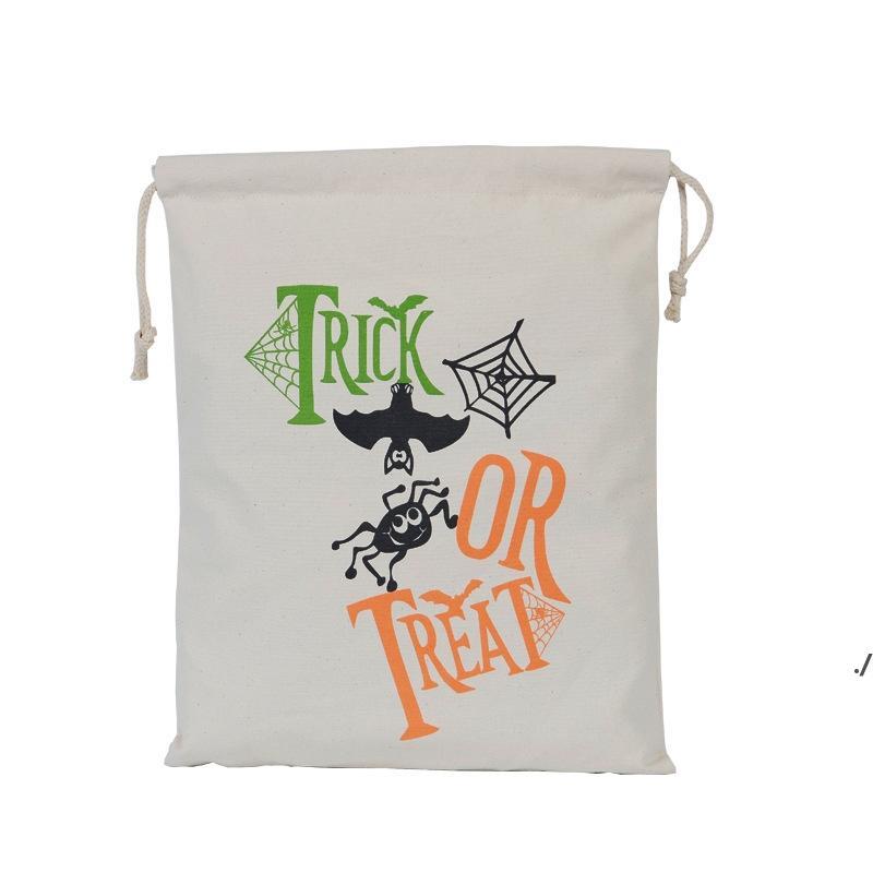 هالوين حقيبة الحلوى هدية كيس علاج أو خدعة اليقطين المطبوعة قماش أكياس هالوين عيد الميلاد حزب مهرجان الرباط حقيبة HHE8192