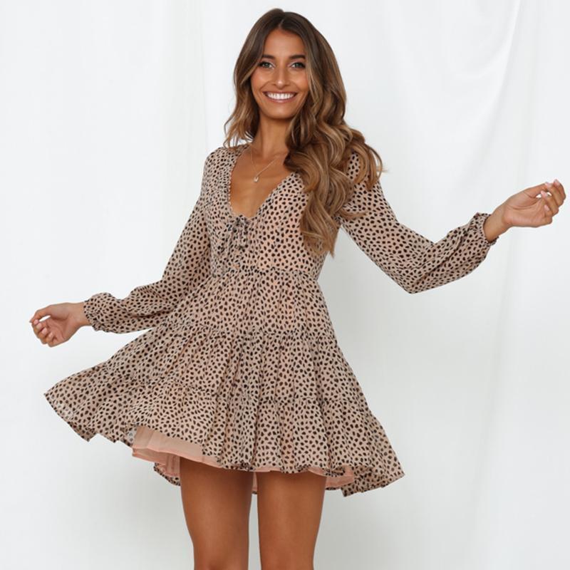 Vestidos casuais jastie vintage vestido de leopardo mulheres manga comprida v-pescoço hippie chic boho mini short beach vestidos
