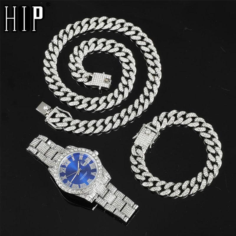 Hip Hop 13MM 3PCS KIT Watch+Necklace+Bracelet Bling Crystal AAA+ Iced Out Cuban Chain Rhinestones Chains For Women Men Jewelry