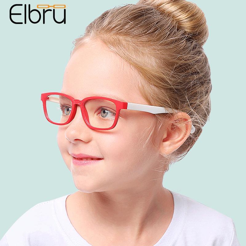 Lunettes de soleil mode cadres elbru enfants anti-bleu lumière silicone lunettes cadre bébé ordinateur goggles enfants garçons filles effacer lentille lunette