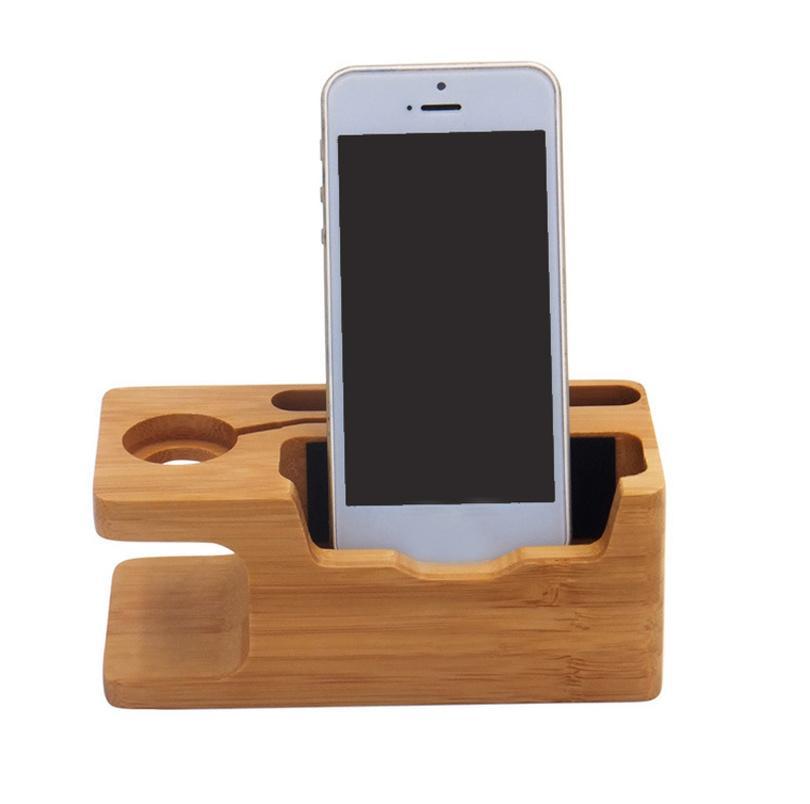 BAMBOO WOOD 2 IN 1 PORTA PORTA DI CHARGING DOCKTOP Desktop Desktop Station Phone Stand Supporto per supporti per accessori per iPhone