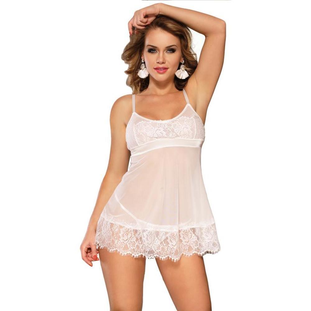 Plus Size Women Sexy Nightwear Lingerie Lace Charming Nightgown Sleeveless White Wedding Sleepwear Short Babydoll Dress RS80578