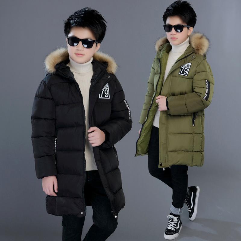 어린이 겨울 자켓 소년 캐주얼 코트 십대 아이들은 따뜻한 두꺼운 후드 롱 다운 코트 4-14 년
