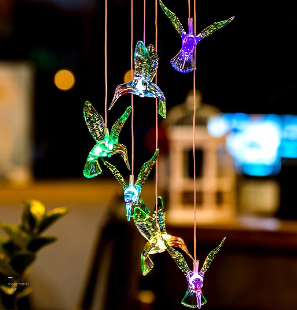 Solarlampen Kolibri Windspiele Wasserdichte Außenbeleuchtung Hängende Gartenlicht, Farbwechsel Home Party-Garten-Dekoration
