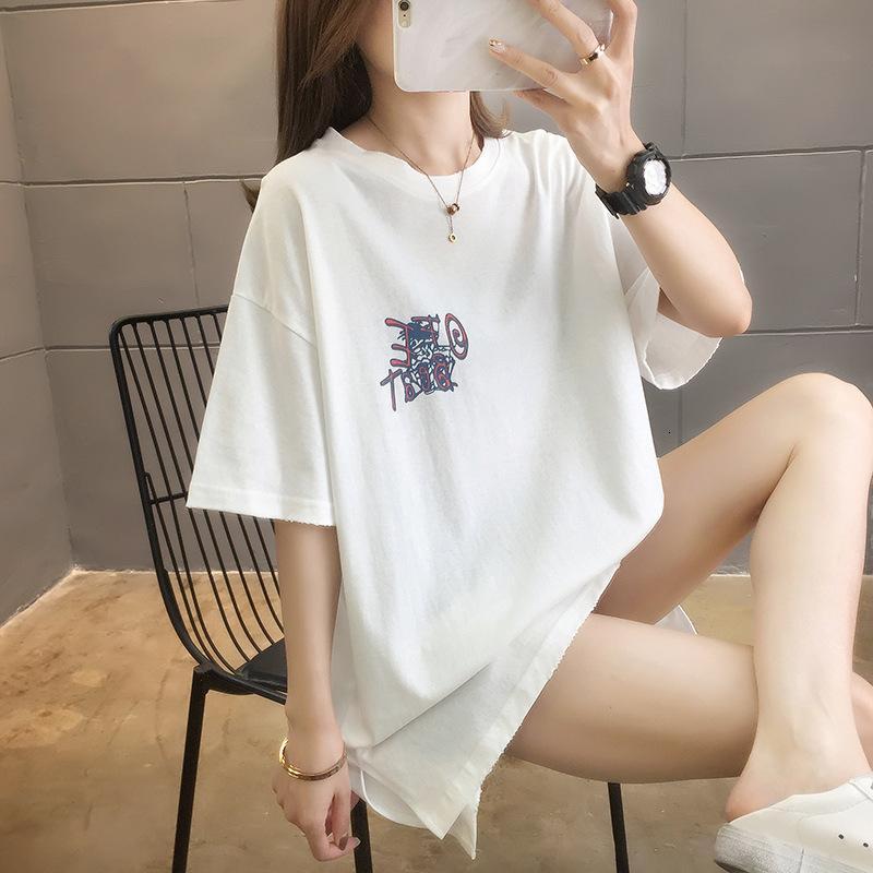 T-shirt Moyen Longueur Sleeve courte 2021 Été Nouveaux NR Col rond lâche grande moitié élégante étudiante