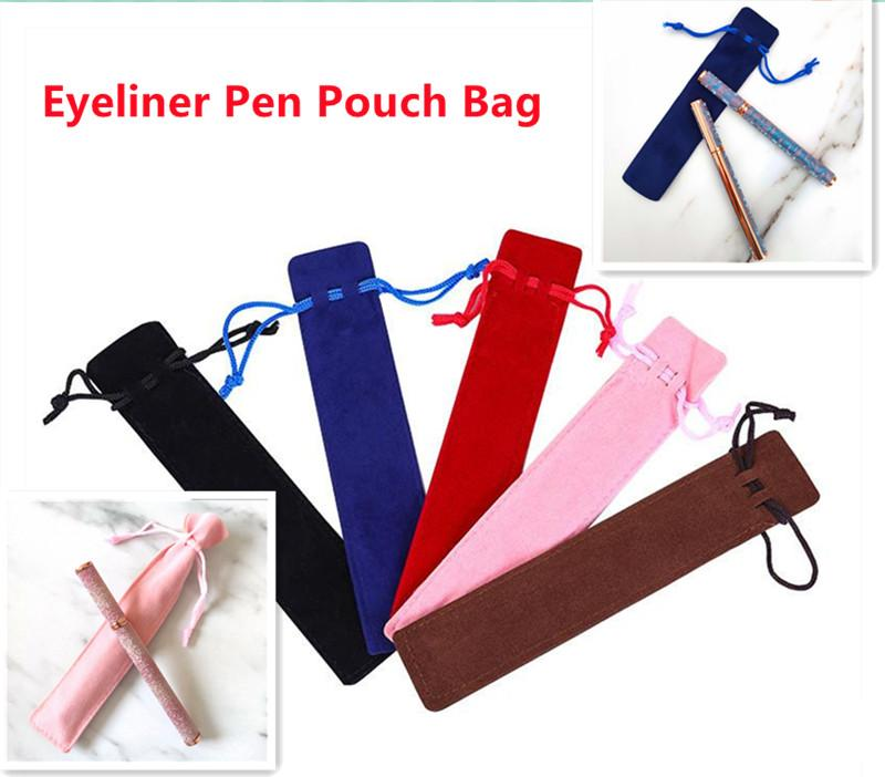 In stock!! Velvet Drawstring Pens Pouch Bag 5colors For Self-adhesive Waterproof Eyeliner Pen Empty Cloth Bags Single Pencil Case