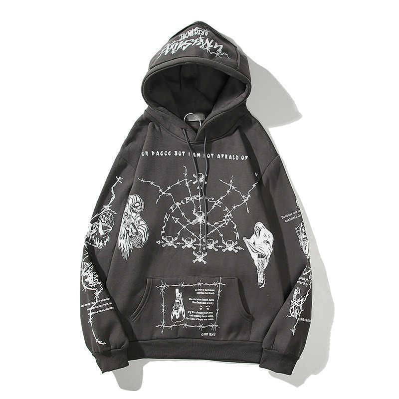 Original hip-hop full body graffiti devil hooded pullover men and women plus size casual loose hoodie Y0802