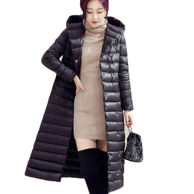 Vestes Femmes 2021 Manteau d'hiver Femme 90% Canard Blanc Long MS Haute Qualité Grande Taille Grande Taille Veste à capuche