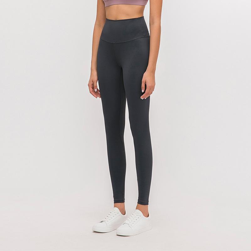 L-85 벌거 벗은 소재 여성 요가 바지 솔리드 컬러 스포츠 체육관 착용 레깅스 높은 허리 탄성 피트니스 레이디 전반적인 스타킹 운동