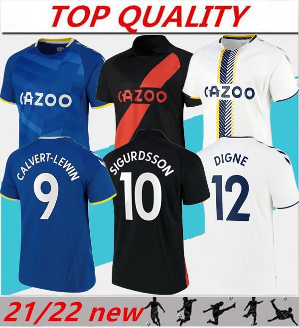 Hommes 21/22 Everton Accueil Soccer Jerseys James Richarlison Calvert-Lewin Sigurdsson Shirt de football 2021 2022 Troisième Uniformes de Coleman Digne