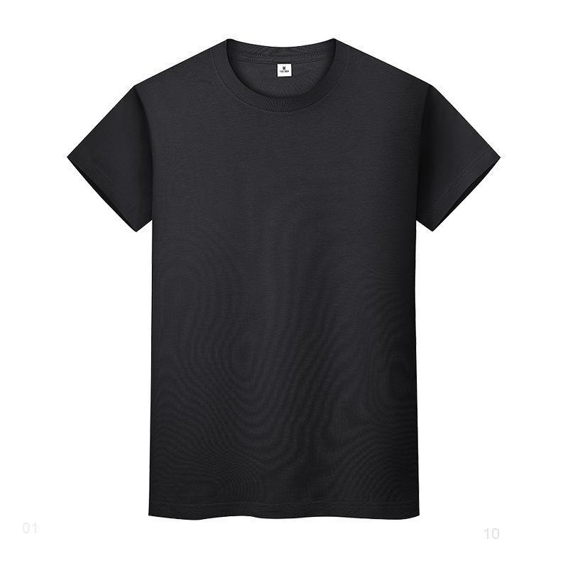 Круглая шея сплошная цветная футболка летняя рубашка хлопчатобумажного дна с короткими рукавами мужские и женские половины рукава JPheii