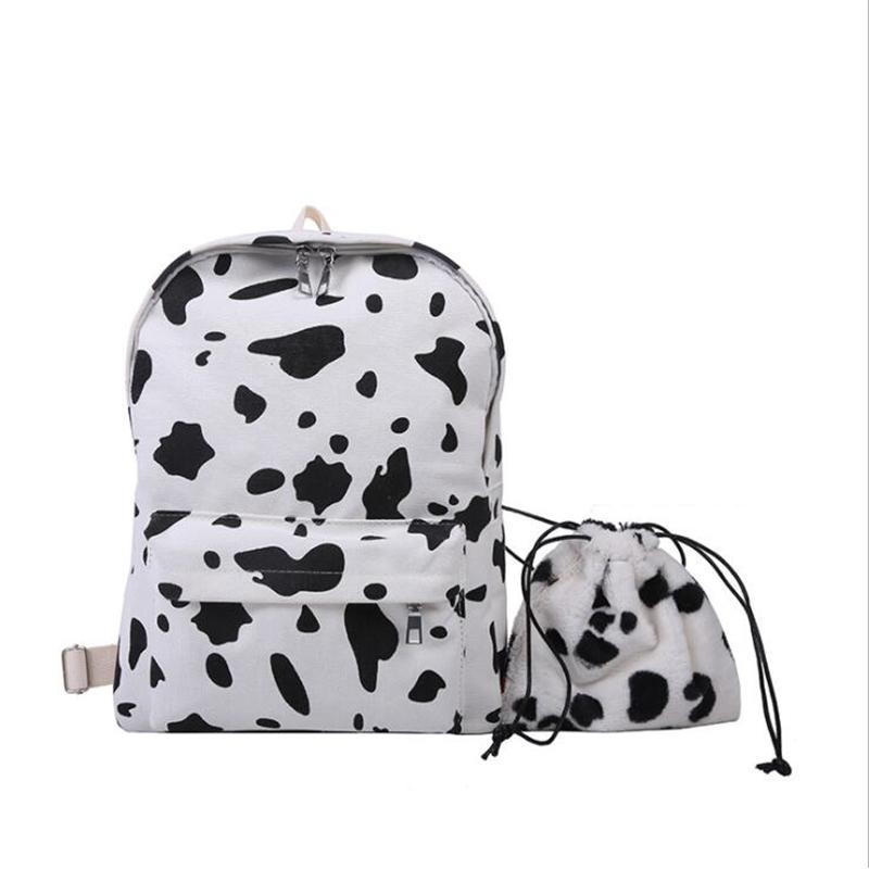 جديد قماش ظهره الفتيات لطيف البقر طباعة بلون مغاير طالب حقيبة الظهر Q0528