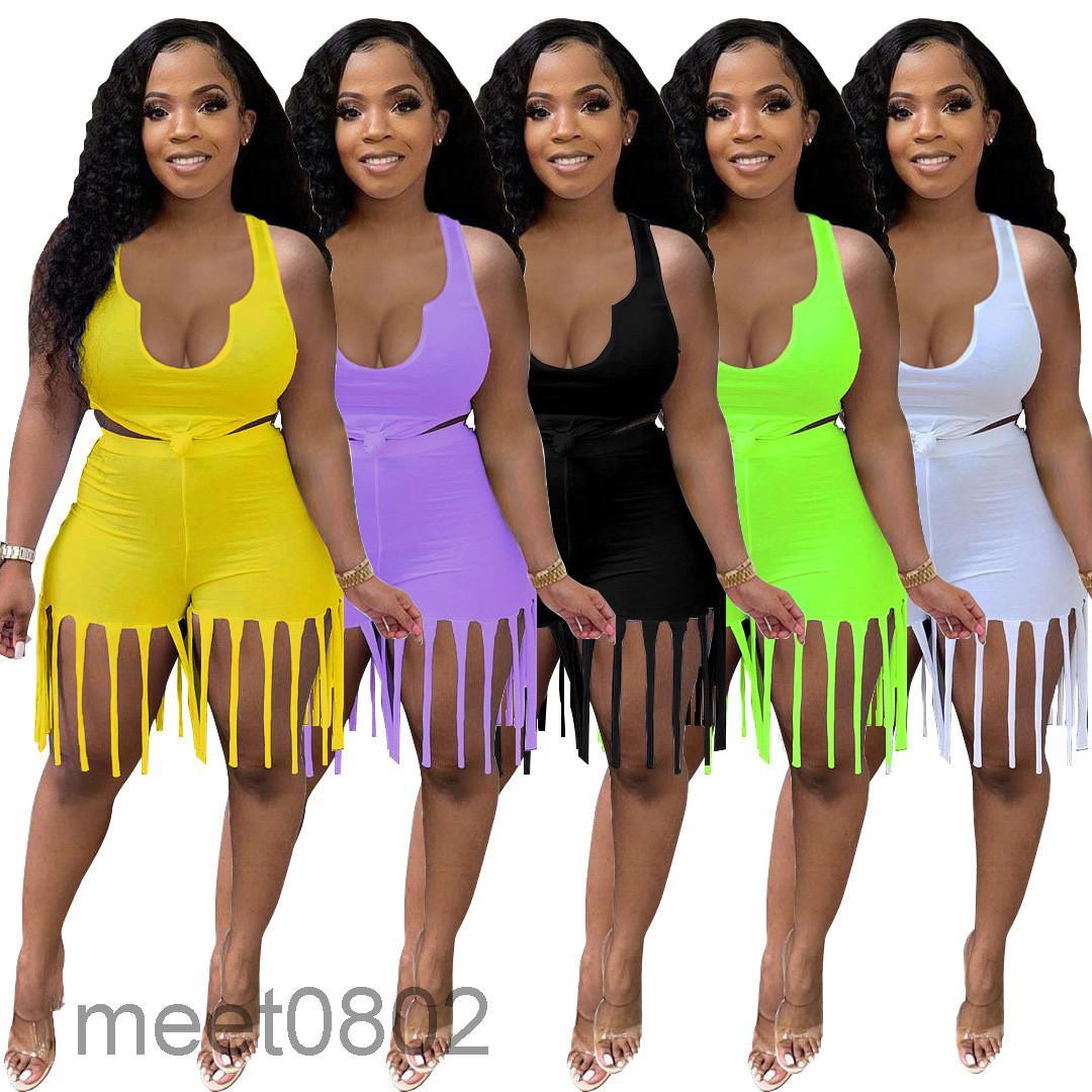 Женщины Двухфузные шорты дизайнеры Scortsuits Летние шорты кисточкой для одежды Топ набор плюс размер женщин V-образным вырезом одежда Yoga Outifits Joging
