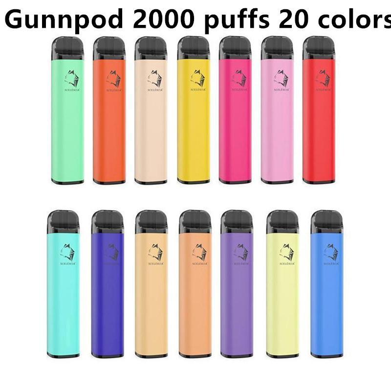 Bunnpod Сигарета одноразовые E-Cigarettes Устройство набор Устройства 2000 Средства 1250 мАч Бухгалтерская аккумуляторная 8 мл POD POD Vape Pen Authentific VS Bar Plus Max