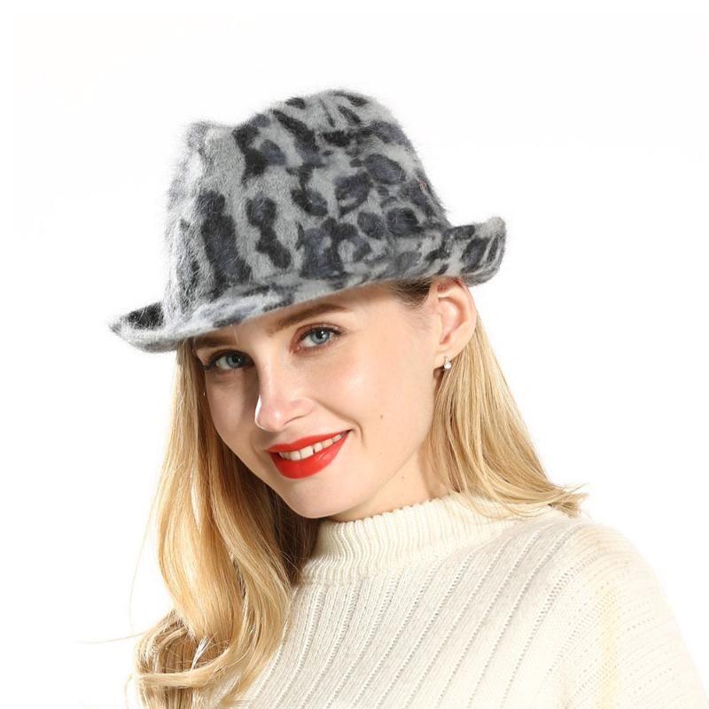 STINGY BRIM HATS Женская шерсть Fedora Hat Trilby Jazz Cap Party для Lady Simple Leopard Panama
