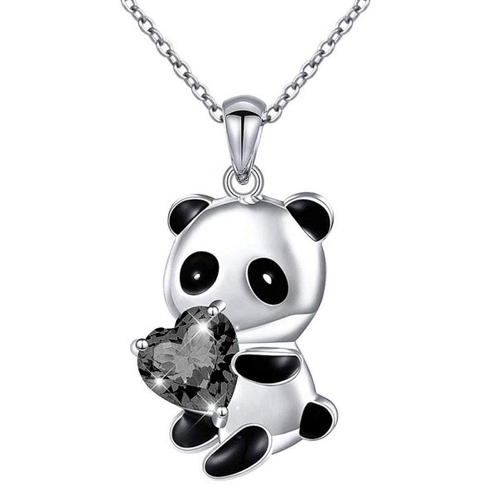 팬더 곰 심장 둥근 모양 지르콘 목걸이 여성용 자식 선물 매력 체인 차커 칼라 도매 10pcs / lot