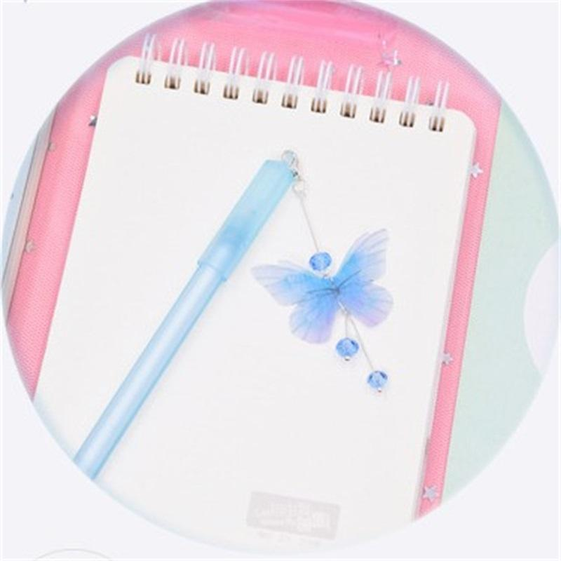 1PC Cute Butterfly Pens Pendant Neutral Pens Kawaii Crystal Gel For Kids Gift School New Office Supplies Stationery GGA4296