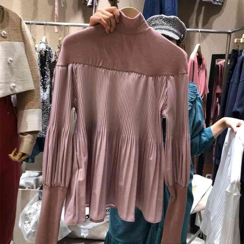 Camisa de mujer primavera otoño francés elegante retro temperamento damas medio alto collar plisado costura diseño blusa 210506