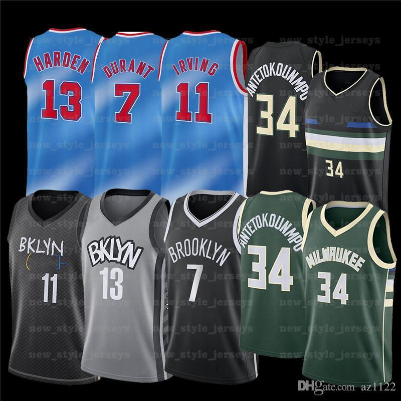 7 Kevin 11 Kyrie 34 Giannis Irving Antetokounmpo Durant 13 Harden NCAA Hommes Basketball Jerseys 2022 Nouveau Jersey cousu Z25