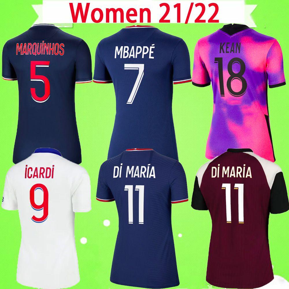 PSG Soccer Jersey MULHERES 20 21 22 NEYMAR JR 2020 2021 2022 Paris Casa Fora azul branco VERRATTI CAVANI MBAPPE camisa de futebol feminino DI MARIA uniforme feminino