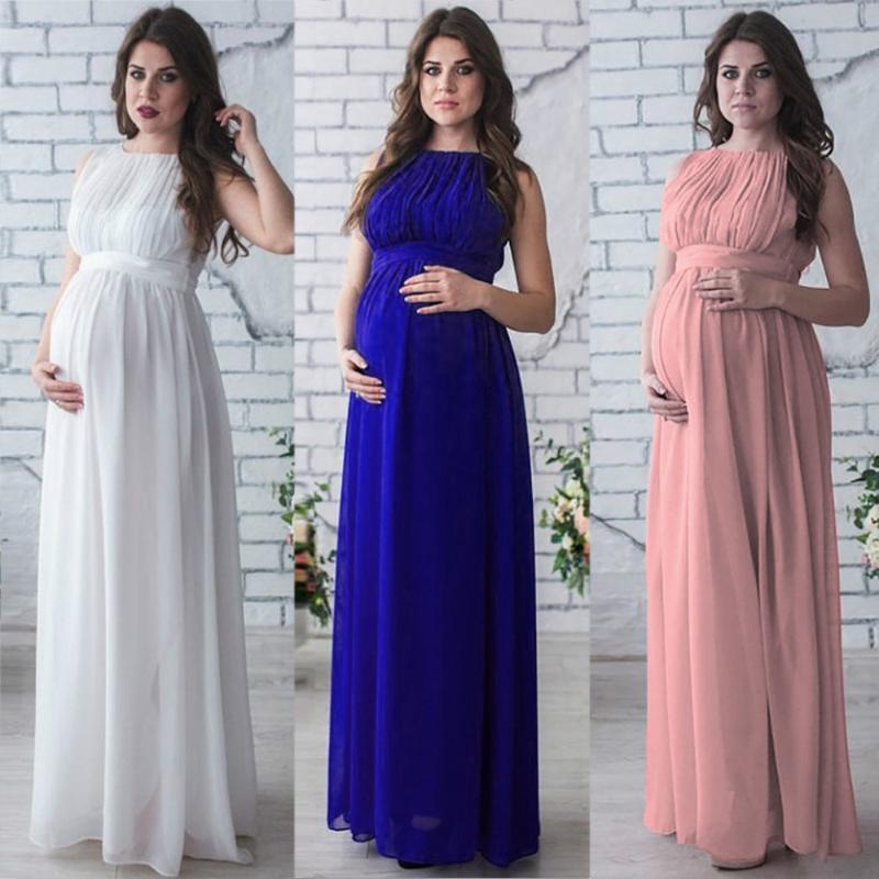 Women's Maternity O-neck Dresses Pregnant Drape Pography Props Casual Nursing Bohemian Tie Loose Long Floor Dress Tops 2021