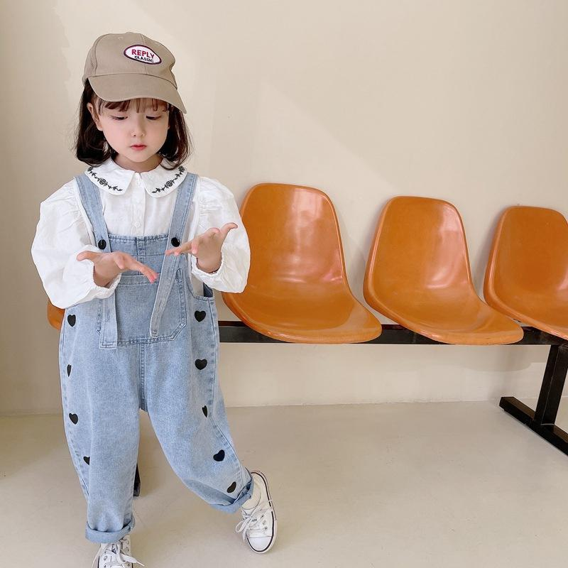 Korean style Cute Girls Denim Overalls Spring Autumn Heart Printing Children Loose Casual Trousers 2-8 Y 210510