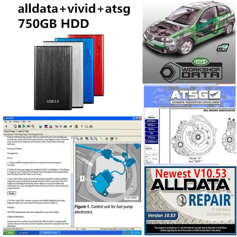 2021 Hot AllData Auto Repair Soft-Ware Tous les données V10.53 + ATSG + Vivid Atelier avec disque dur de 750 Go