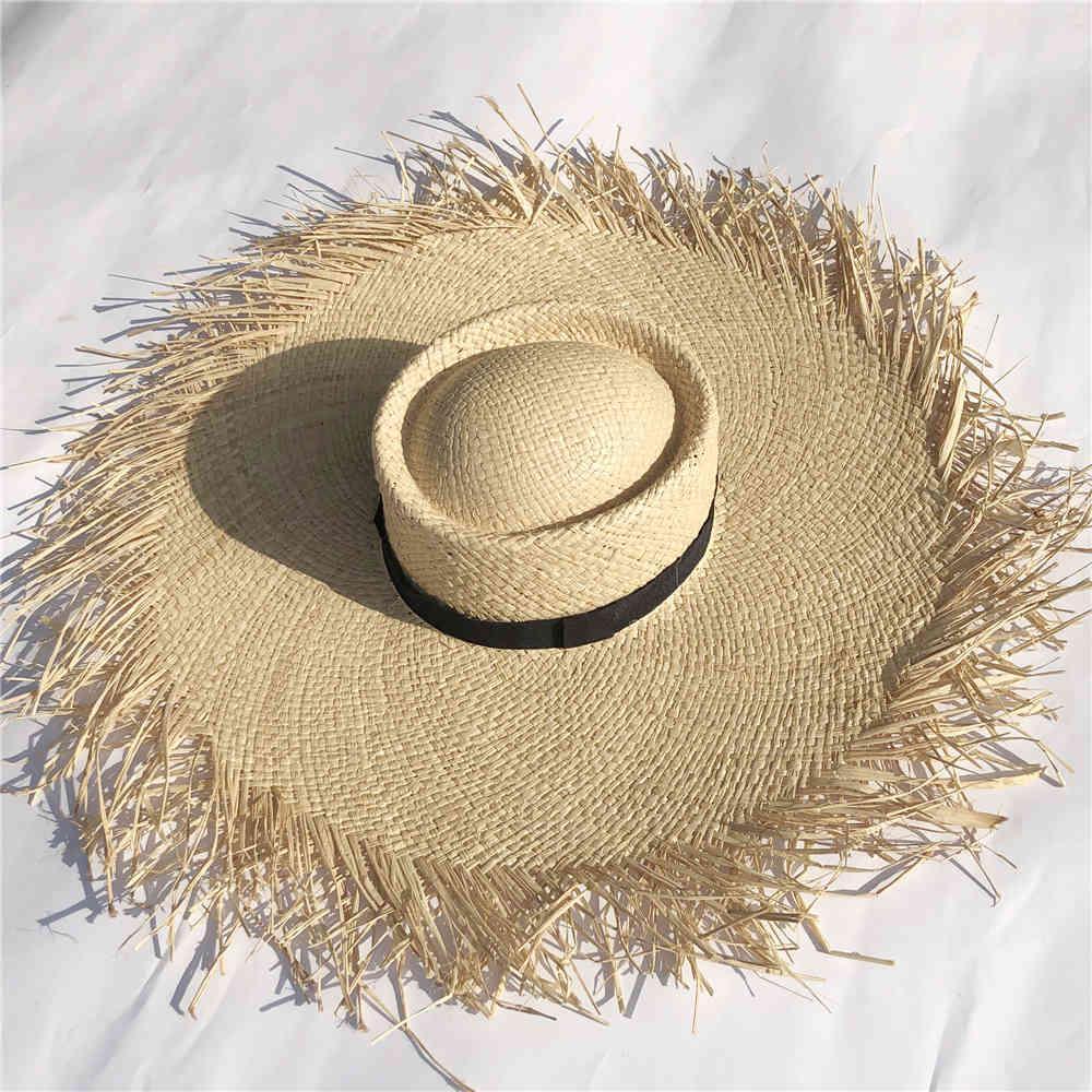 جديد إمرأة المتضخم قبعة كبيرة حافة 20 سنتيمتر raffia قبعة الشمس واسعة بريم شاطئ القبعات السيدات سترو القش الظل قبعة بالجملة دروبشيبينغ 210323