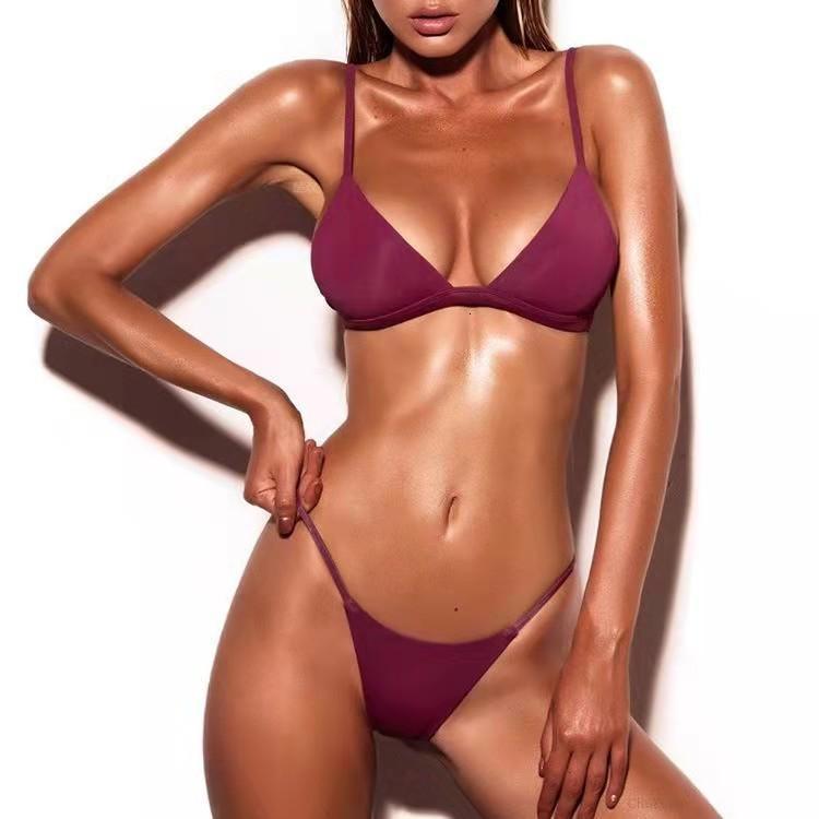 Bikini lace up resort sólido sexy grande peito três pontos thong split maiô