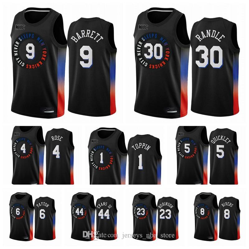 New YorkKnicksHommes RJ Barrett Obi Toppin Cole Anthony Derrick Rose Elfrid Payton 2020-21 Black City Basketball Jersey Nouveau Uniforme