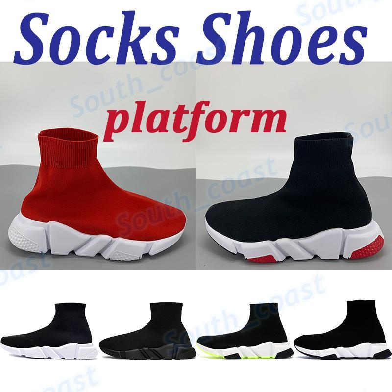 منصة رجل عارضة الأحذية الجوارب حذاء رياضة الكلاسيكية الثلاثي أسود أبيض أحمر أزياء الرجال النساء chaussures المدربين الرياضة الولايات المتحدة 6-12
